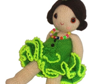 Lovely Brazilian Girly Doll with  Basket of Fruits PDF Email Knit PATTERN