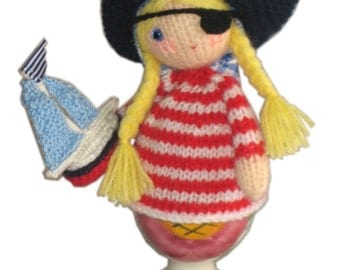 Sweet PIRATE with Boat Egg Cosy PDF Email Knit PATTERN