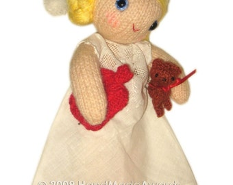 Adorable SLEEPER Girly DOLL with hot Red Water Bag  Knit PATTERN pdf Email