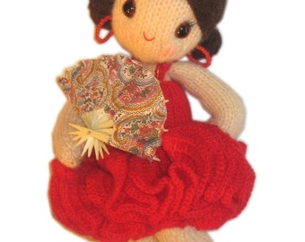 Lovely CARMEN the Spanish Girly Doll Pdf EMAIL Knit PATTERN