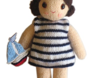 Gorgeous  SAILOR girly DOLL with Toy Boat pocket friend Knit PATTERN pdf Email