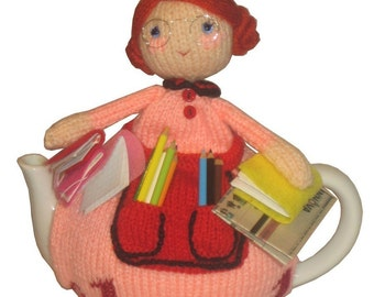 Kate the LIBRARIAN Tea Cosy PDF Email Knit PATTERN