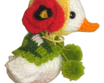 Adorable Mom GOOSE with EASTER Eggs Pdf Email Knit PATTERN