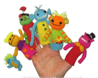 My MONSTERS from the Moon Finger PUPPETS Pdf Email Knit PATTERN