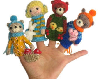 GOLDILOCKS and the Three Bears Finger PUPPETS Pdf Email Knit PATTERN