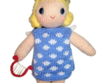 Christmas ANGEL girly Doll  with Harp PDF Email  Knit PATTERN