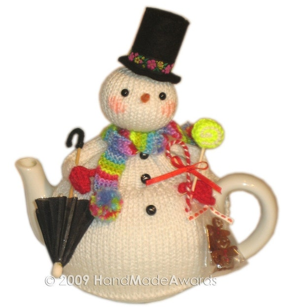Lovely Christmas SNOWMAN with UMBRELLA Tea Cosy Pdf email Knit PATTERN from H...