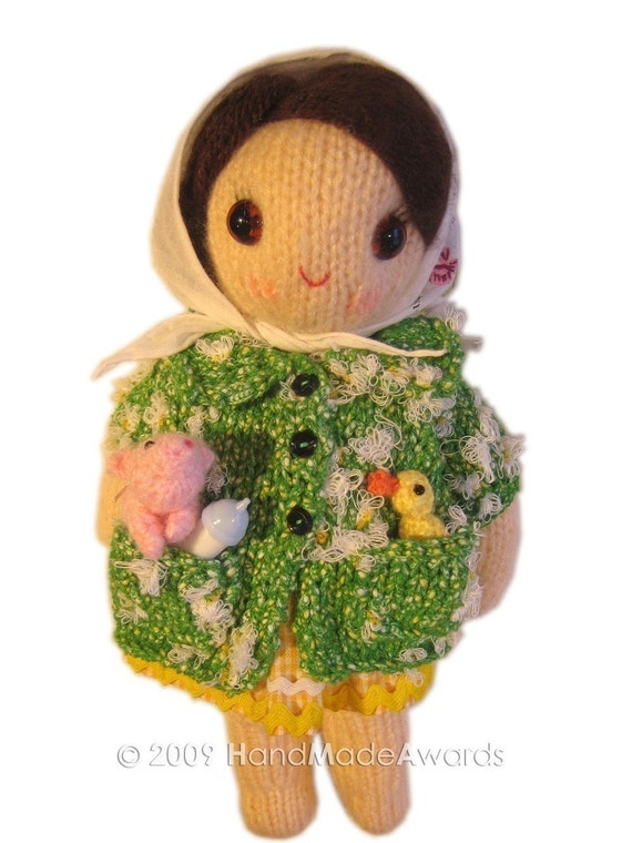 Lovely FARMER girly Doll with her ANIMALS pocket friend Knit PATTERN pdf Email
