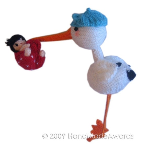 STORK with Baby Pdf Email KNIT PATTERN