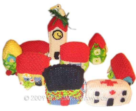 Lovely VILLAGE with Nine Houses Knit PDF Email PATTERN