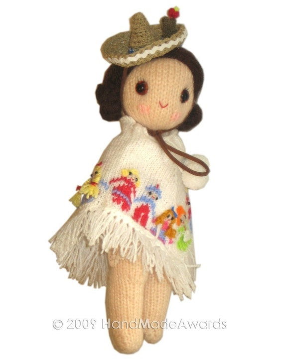 MEXICAN Girly Doll with cute Poncho and Hat PDF Email Knit ...