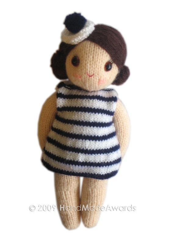 Knitting Pattern For Toy Boat : Gorgeous SAILOR girly DOLL with Toy Boat pocket friend Knit PATTERN pdf Email...