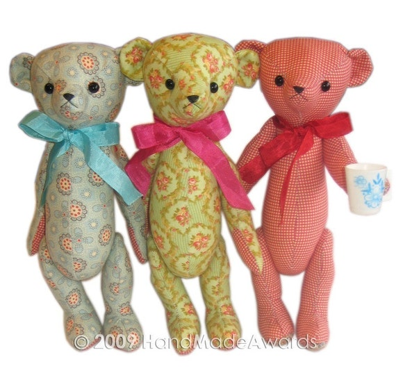 sweet fabric Teddy bear classic vintage style Pdf email PATTERN