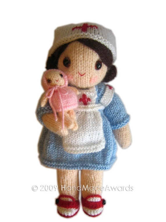 Adorable MAUREEN NURSE girly Doll with Baby  Pdf Email Knit PATTERN