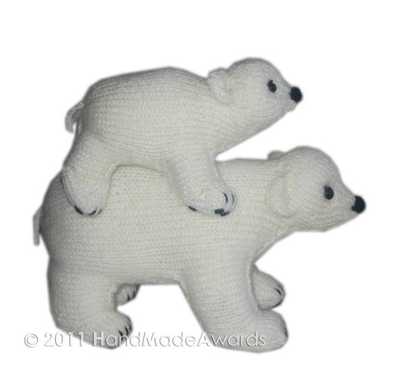 Daddy Bear and Junior are Walking on Ice PDF Email Knit PATTERN