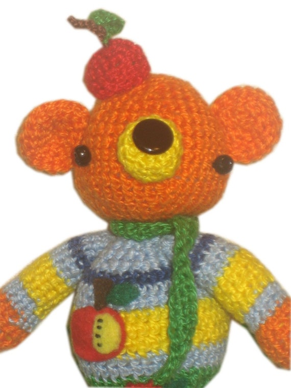 William Tell BEAR with Apple Hat Pdf  Email CROCHET PATTERN