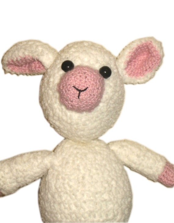 LOVELY HANDMADE CROCHET AMIGURUMI SOFT BABY LAMB SHEEP WHITE