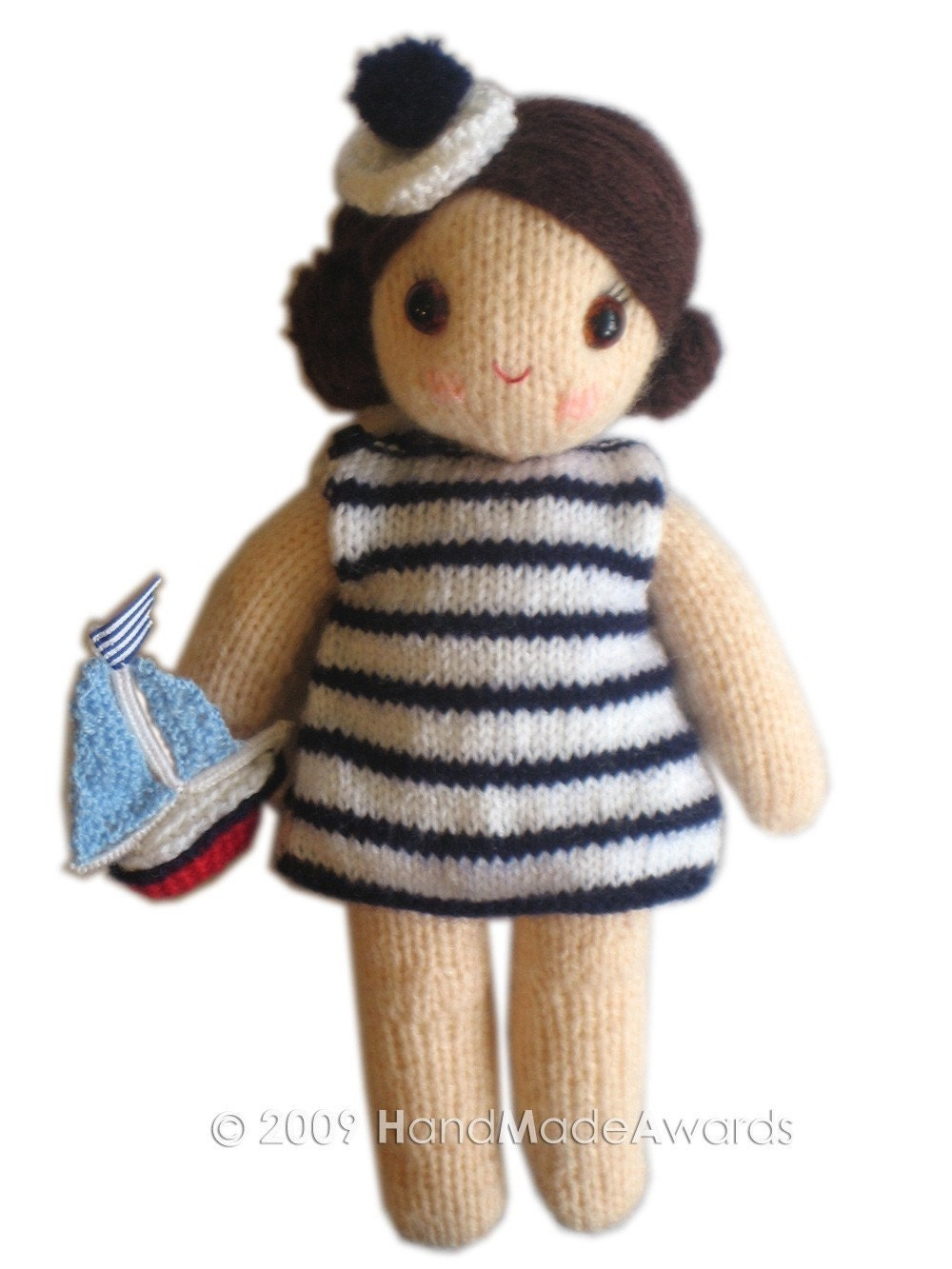 Knitting Pattern For Toy Boat : Gorgeous SAILOR girly DOLL with Toy Boat pocket friend Knit