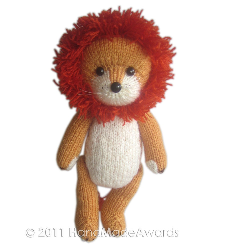 Knitting Pattern For A Toy Lion : Rupert the LION PDF Email Knit PATTERN