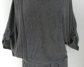 Vintage Oversized V-Neck Tunic Sweater With Belt & Woven Front Design, Size Small - Medium