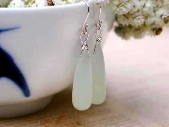 Jade Earrings - Celadon Green Jade Elongated Drops Wire Wrapped in Sterling Silver / Misty Calla