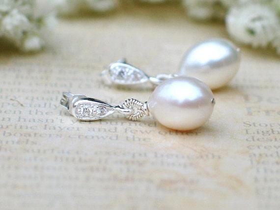 Wedding Jewelry Ivory White Freshwater Drop Pearl Earrings / Dew Drop Pearls w Crystal in Sterling Silver Post Style / Allure Pearls