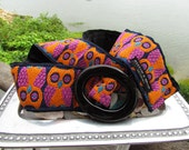 Handmade Vintage Jacquard Owl ribbon belt in navy, orange and pink with black acrylic buckle