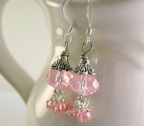 Pink Chinese Faceted Rondelle  Earrings