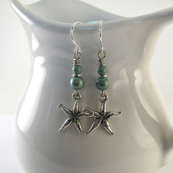 Turquoise Starfish Earrings Silver Beaded Long Wire