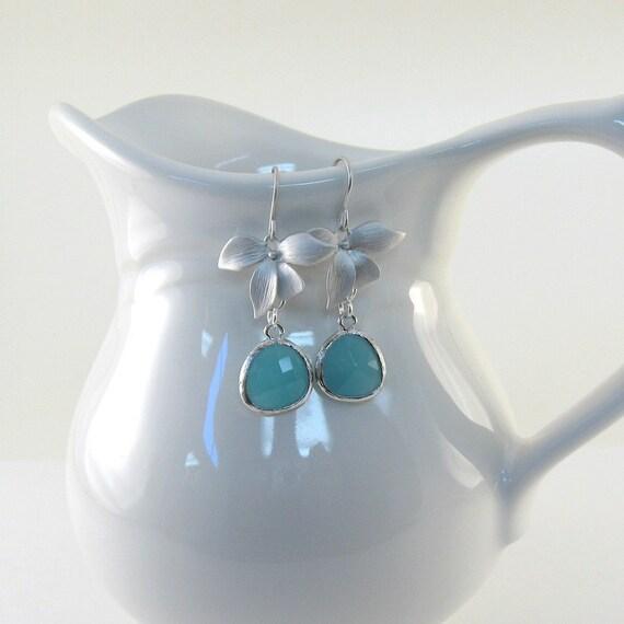 Orchid Blue Earrings Matte Silver Faceted Mint Opal Blue Wedding Dangle Wire Earrings