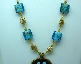 Blue and Gold Pendant necklace
