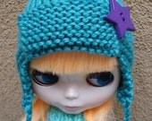 Knit Trapper Hat for Blythe with Star Button