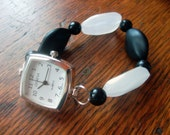 Black N White Stretchy Beaded Watch