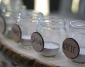 Bridesmaids Table Markers Upcycled Glass Jars With Carved Wood Fronts Tea Light Candle Holder Rustic Woodland Wedding