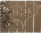 Persoanlized Photograph Wedding Couples Names Written On The Garden Fence