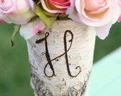 Personalized Wood Birch Bark Wedding Centerpiece (item E10294)
