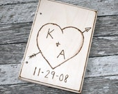 Personalized Engraved Wood Heart and Arrow Notebook
