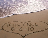 Wedding Couples Names Written In The Beach Sand Unique Personalized Wedding Gift