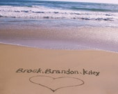 U PRINT Last Minute Bridal Shower Valentines Day Wedding Gift Your Family Names Written In The Beach Sand Personalized Beach Photograph Art Custom Photograph Digital Image