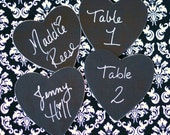 12 Black and White Damask Theme Style Chalkboard Hearts Wood Table Numbers Place Cards