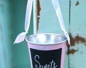 Tin Bucket Basket With Chalkboard Front Wedding Decor (item P10408)