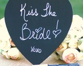 Heart Chalkboard Wedding Sign Photo Prop AND Chalkboard Marker Pen Set