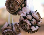 Pick The Color Rustic Woodland Roses Ranunculus Kissing Ball Decoration For Aisle, Chair, Pew or Flower Girl Basket