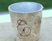 Personalized With Your Initial Birch Bark Wood Short Vase