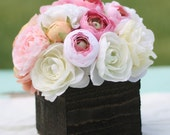 Custom Rustic Woodland Roses Ranunculus You Pick The Flowers  Barn Wood Style Planter Vases with Centerpiece Arrangements