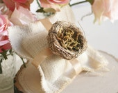 Bird Nest Ring Bearer Pillow Burlap Shabby Vintage Inspired (item PI10546)