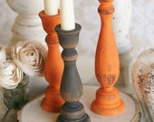 Thanksgiving Home Decor Fall Harvest Candle Stick Holders Rustic Chic Distressed Wood Set of 3