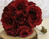 Silk Bride Bouquet Red Roses Rustic Chic Wedding Morgann Hill Designs