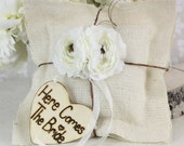 Rustic Ring Bearer Pillow Here Comes The Bride Sign (item PI10589)