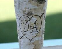 Personalized Birch Bark Wood Vase (item E10543)